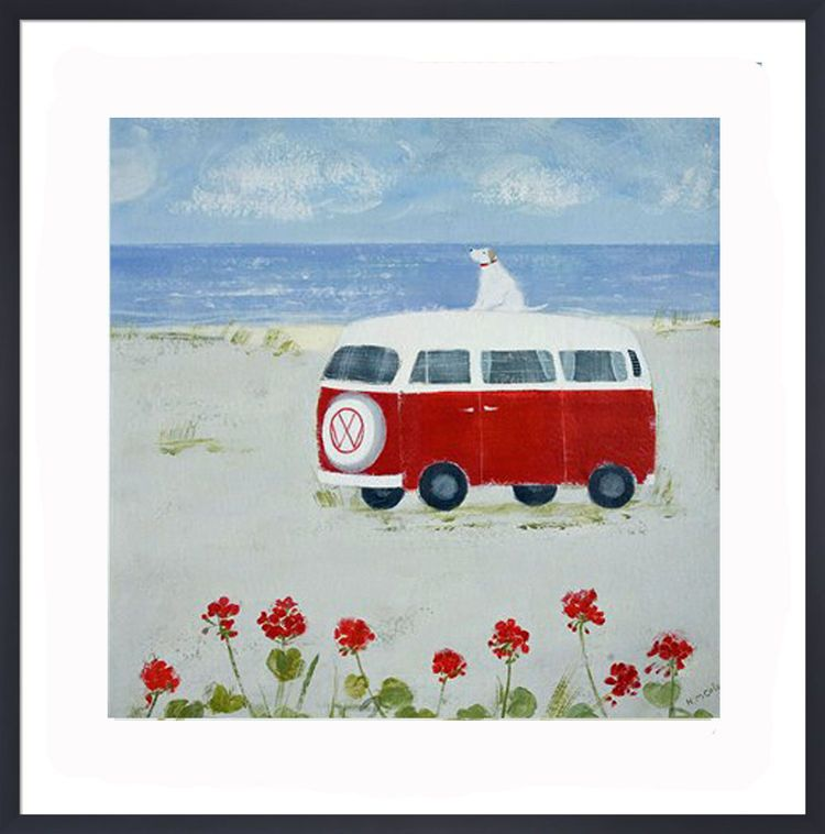 Red Camper Art Print by Hannah Cole