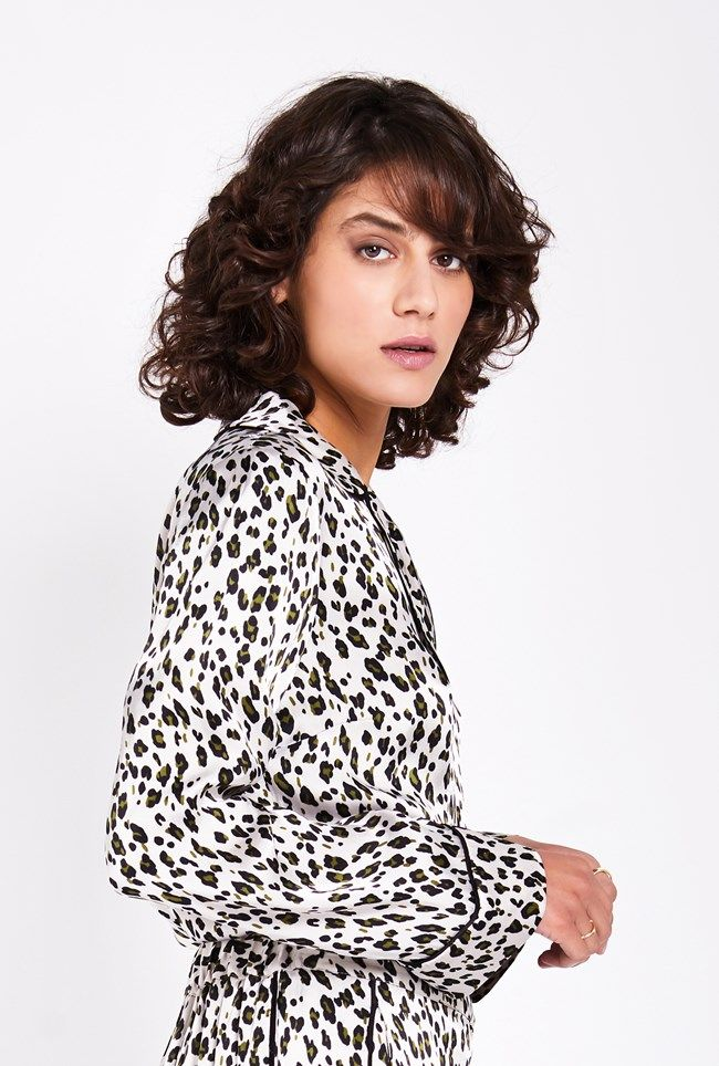 Robyn Animal Print Satin Blouse