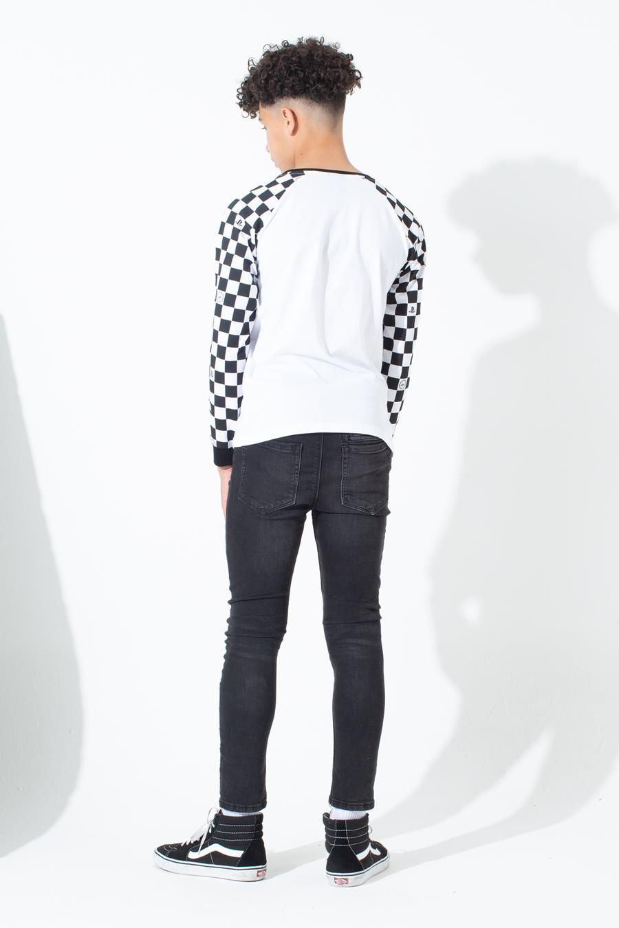 Hype Playstation White Checkerboard Kids L/S T-Shirt