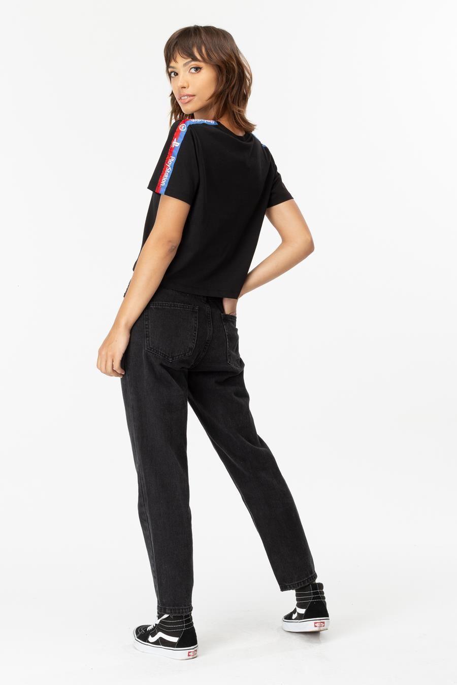 Hype Playstation Black Tape Womens Crop T-Shirt