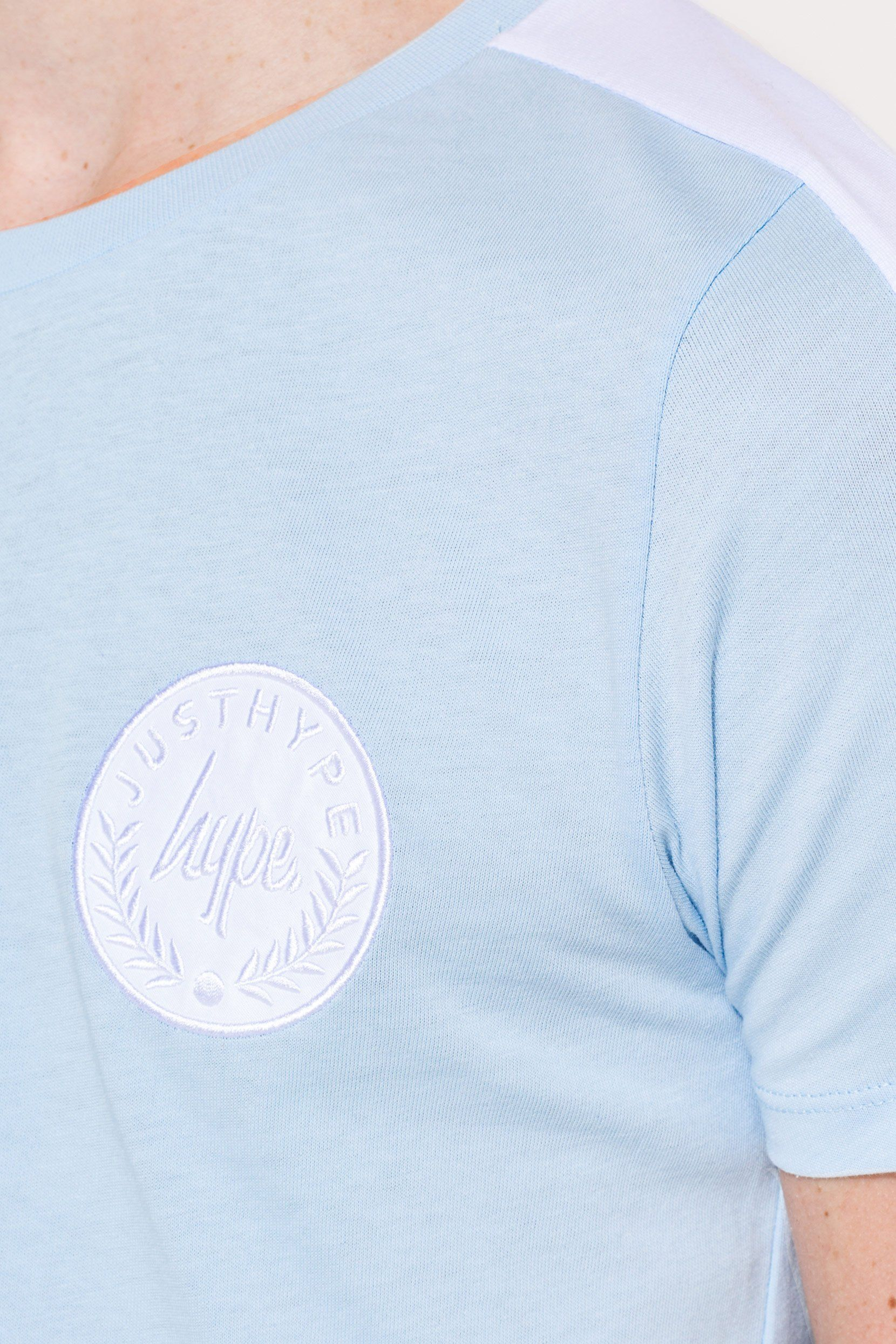 HYPE BLUE SIDE STRIPE CREST KIDS T-SHIRT