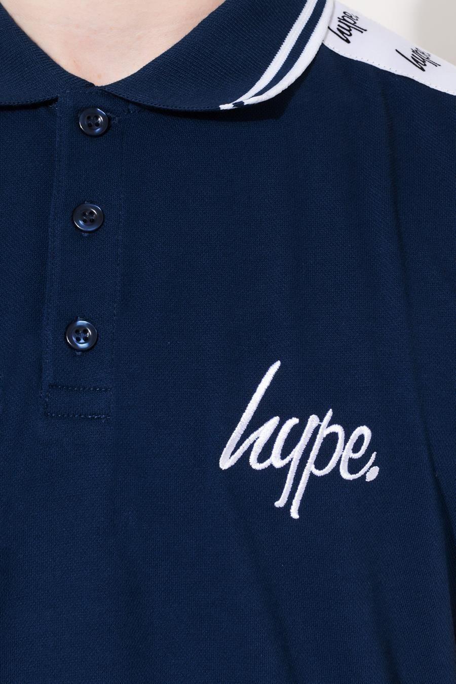Hype Navy Tape Script Kids Polo Shirt