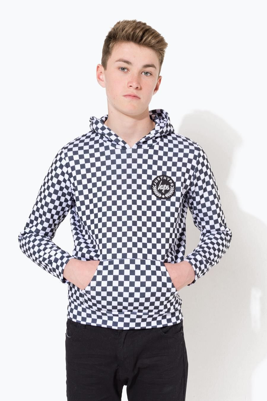 Hype White Checkerboard Crest Kids Pullover Hoodie