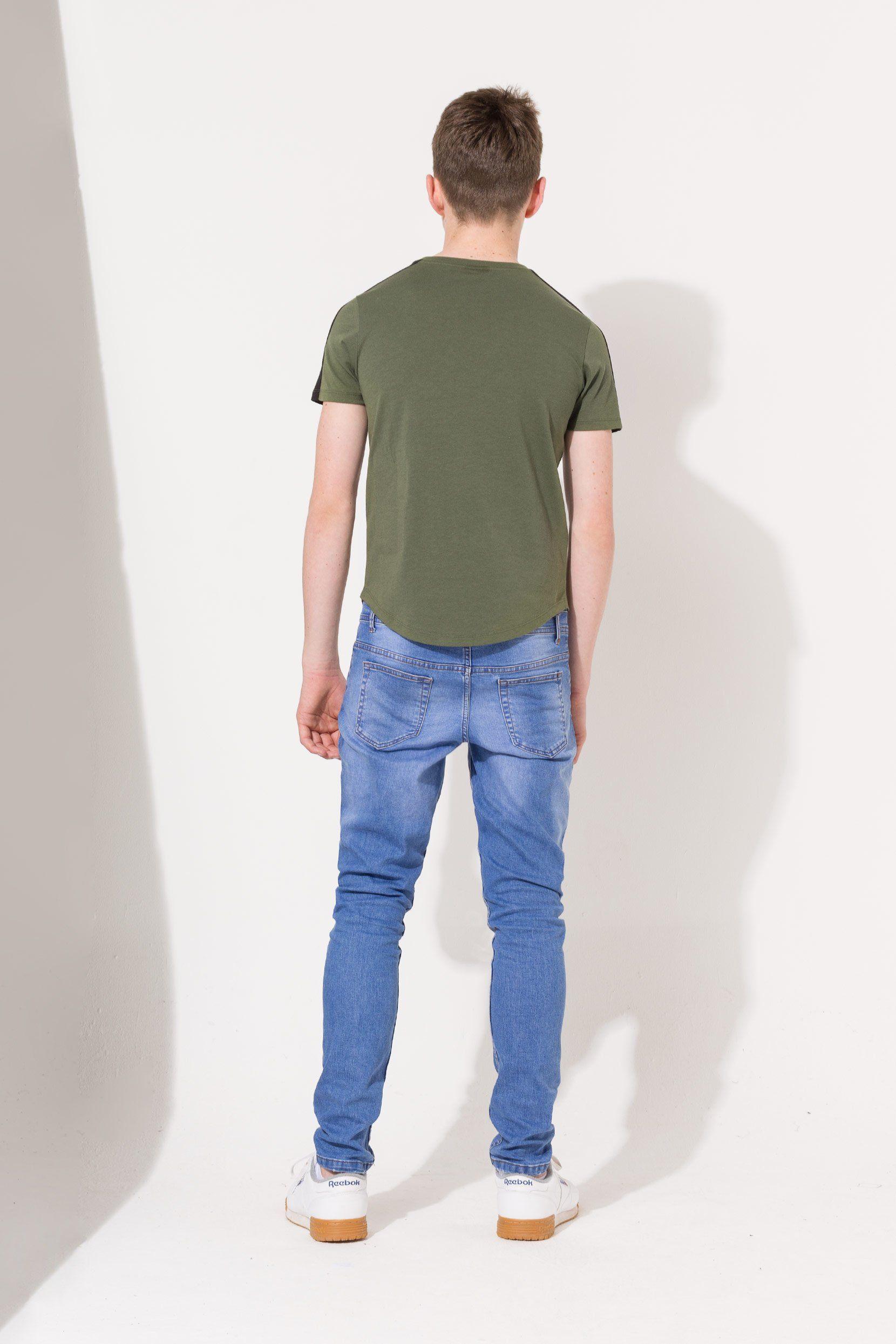 Hype Khaki Side Stripe Crest Kids T-Shirt