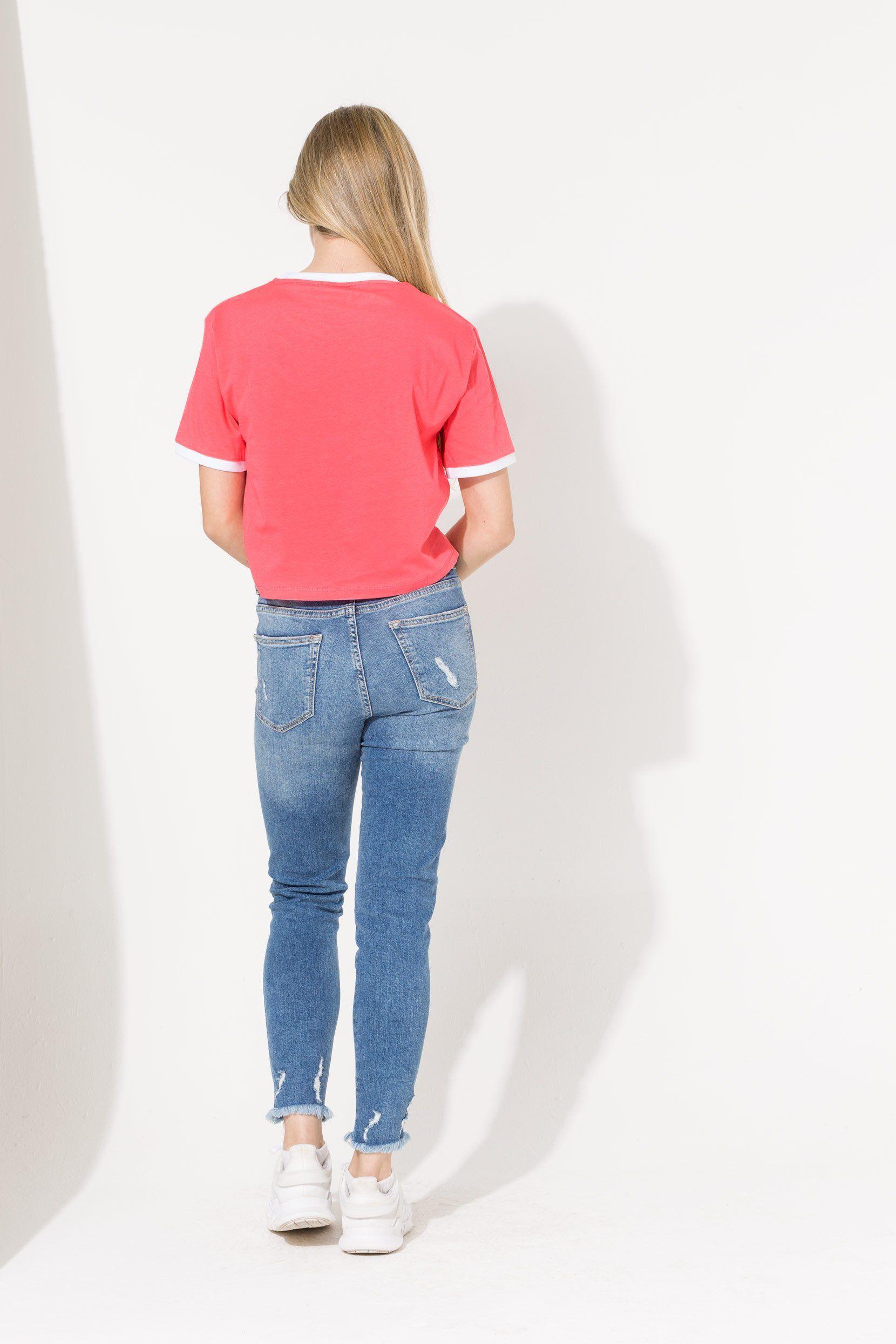 Hype Pink Ringer Script Kids Crop T-Shirt