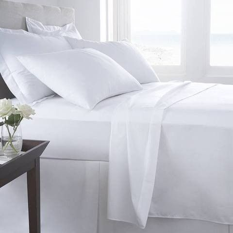 200 TC Pure Cotton Single Flat Sheet White