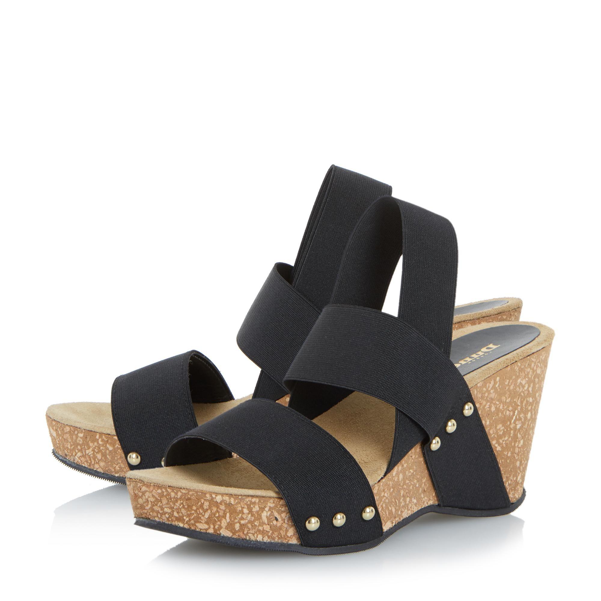 Dune Ladies KASSII Cork Wedge Studded Mule Sandals