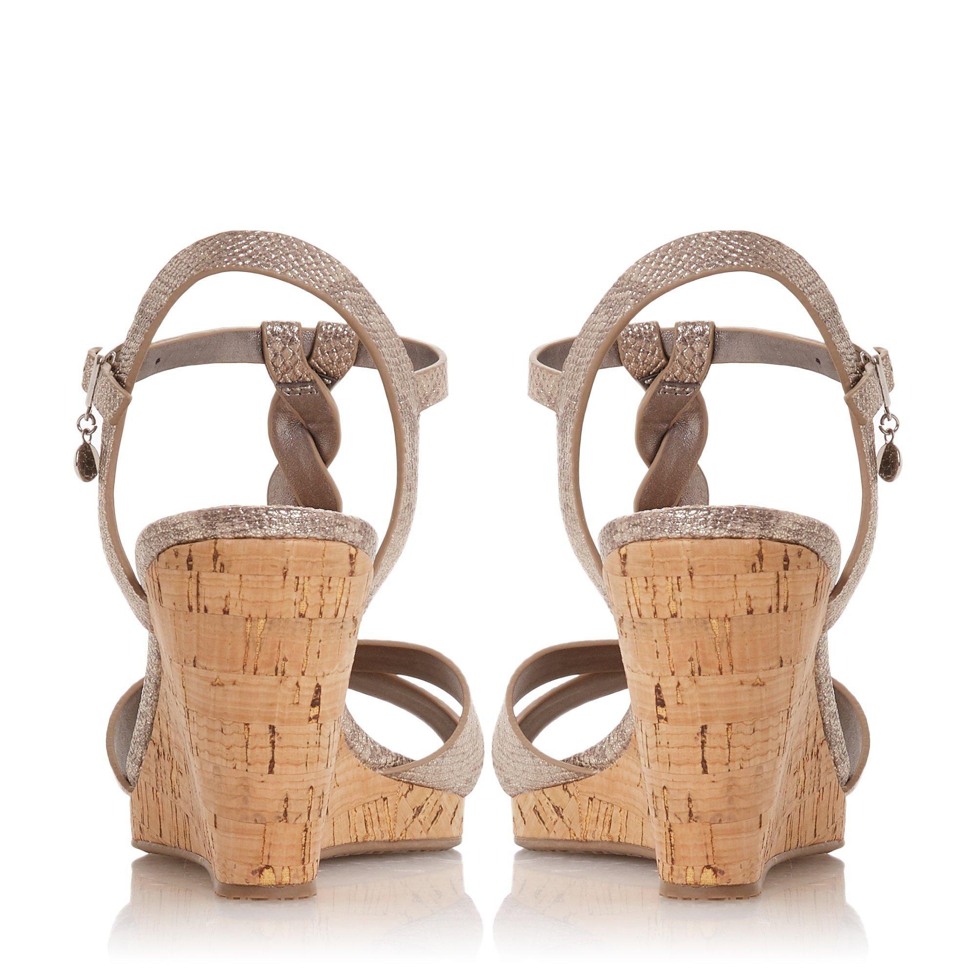 Dune Ladies KOALA Plait T-Bar Strap Cork Wedge Heel