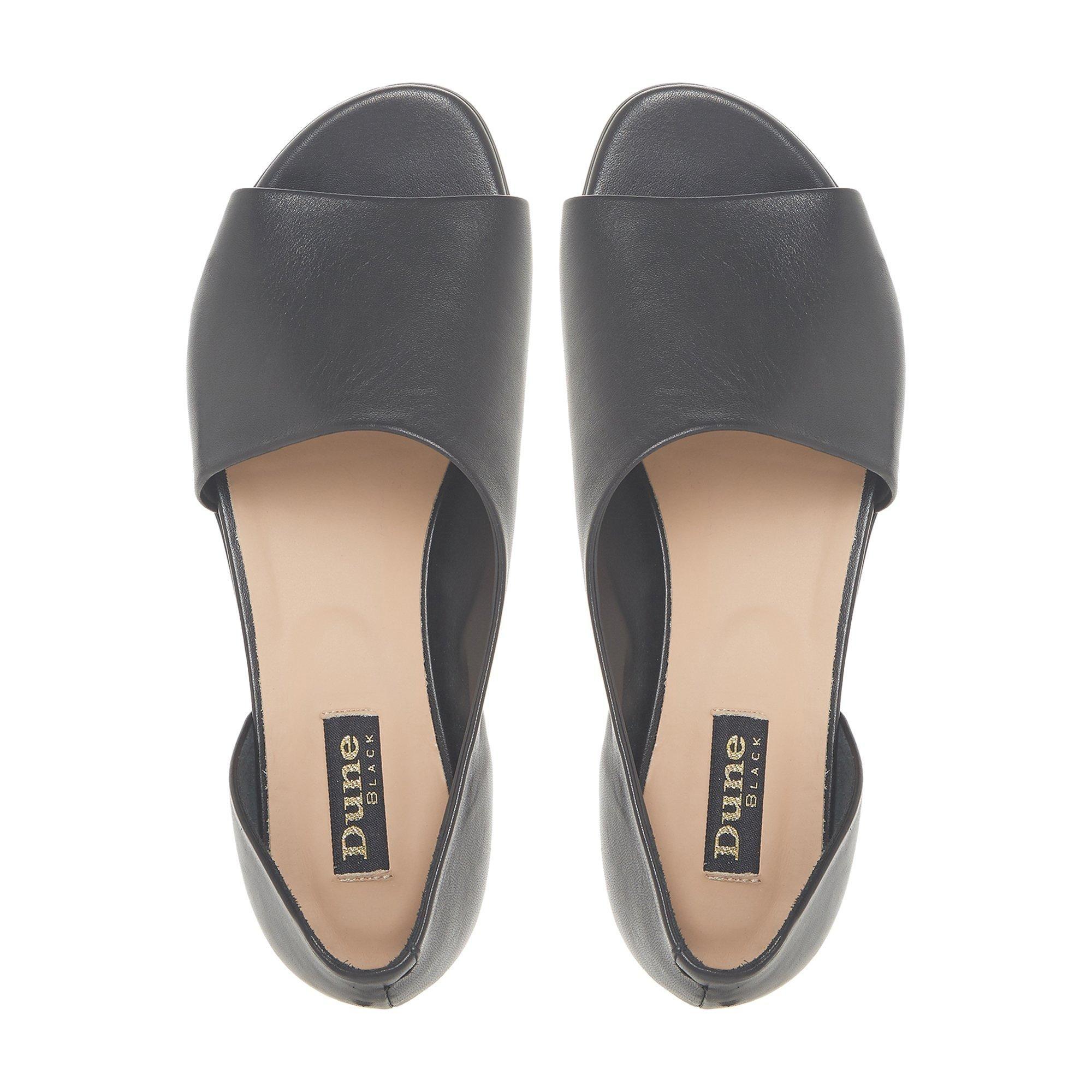 Dune Black Ladies LE MARCHE Asymmetric Peep Toe Shoe