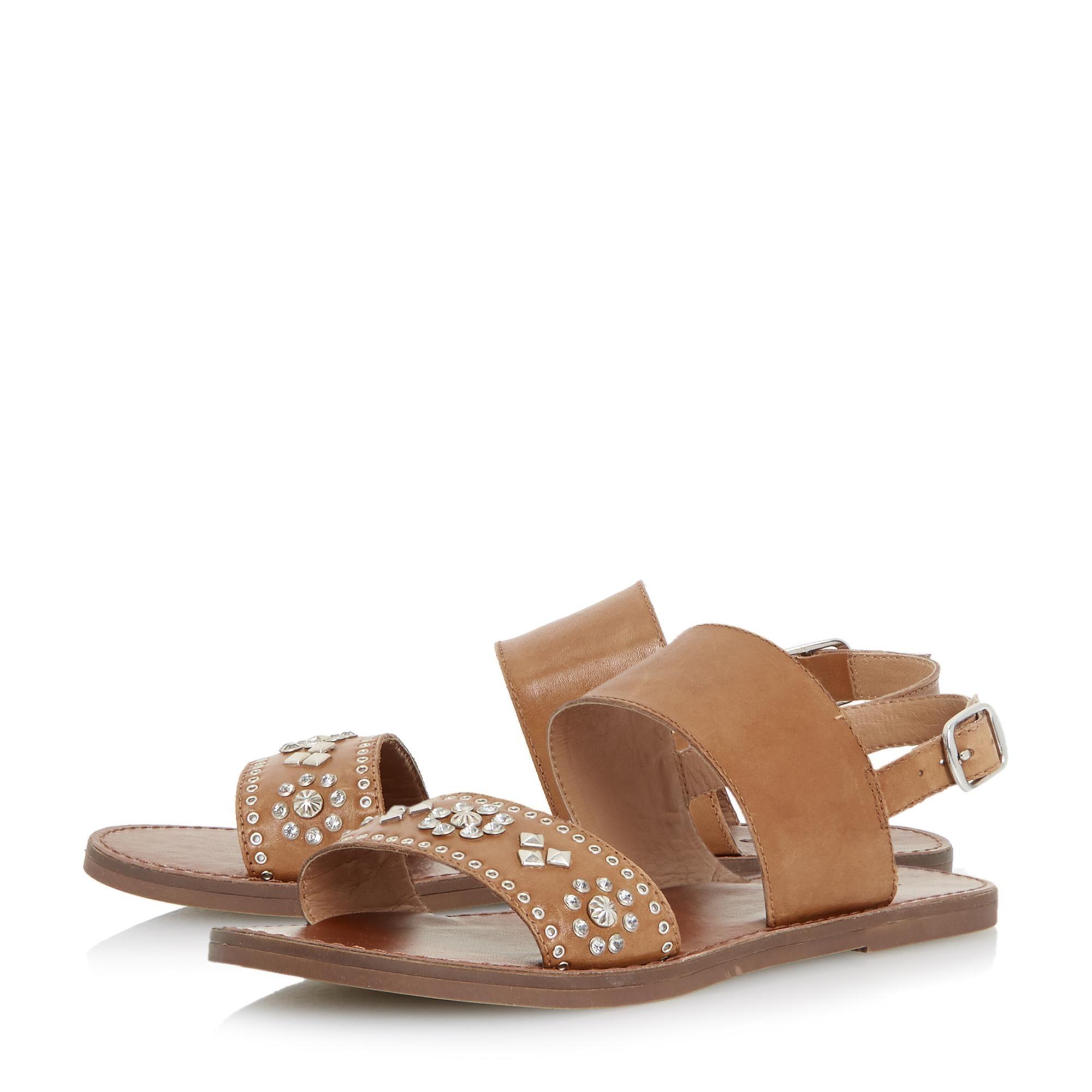 Dune Ladies LUMA Slingback Stud And Diamante Flat Sandals