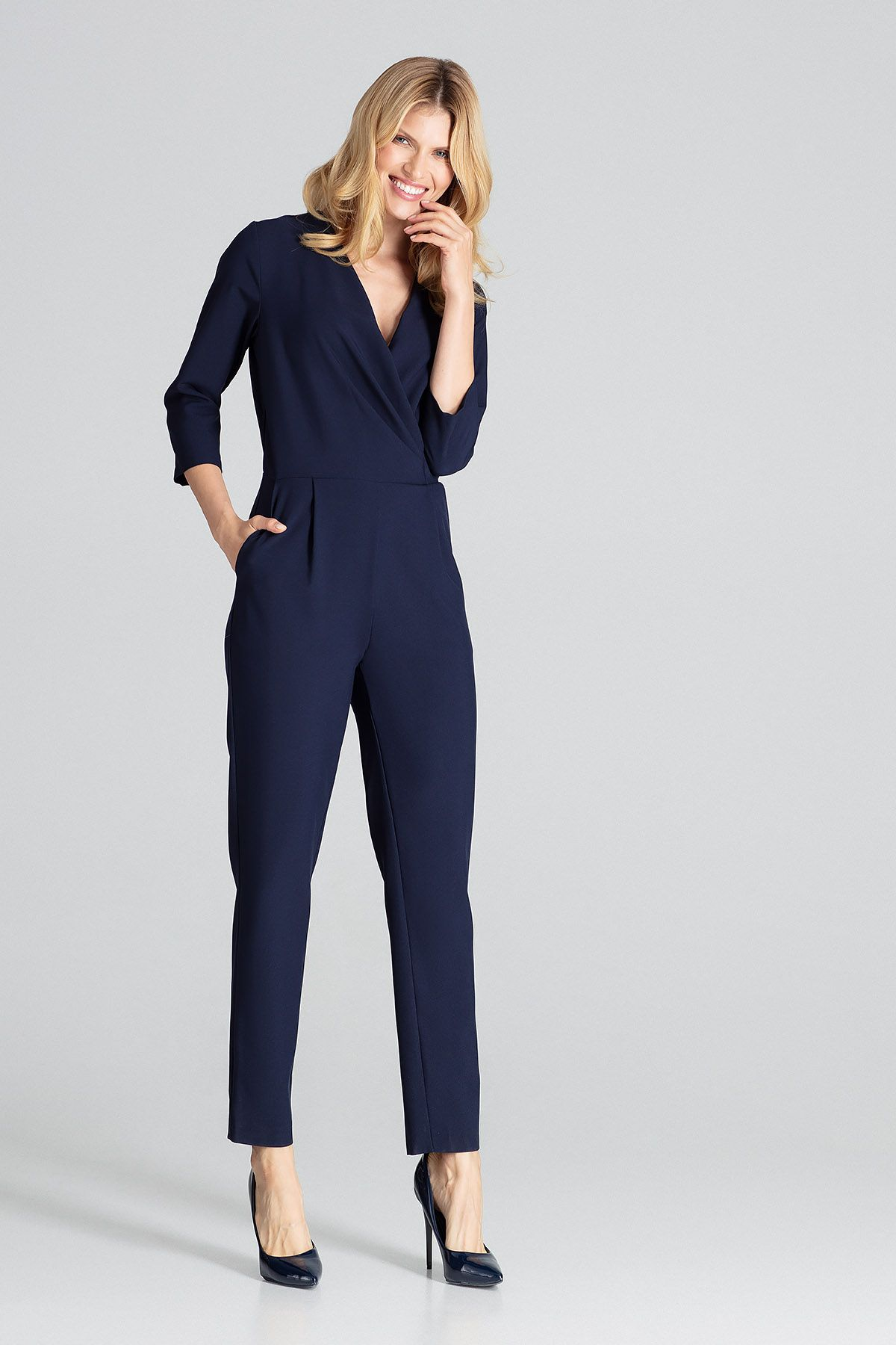 Navy Jumpsuit With 3/4 Sleeves