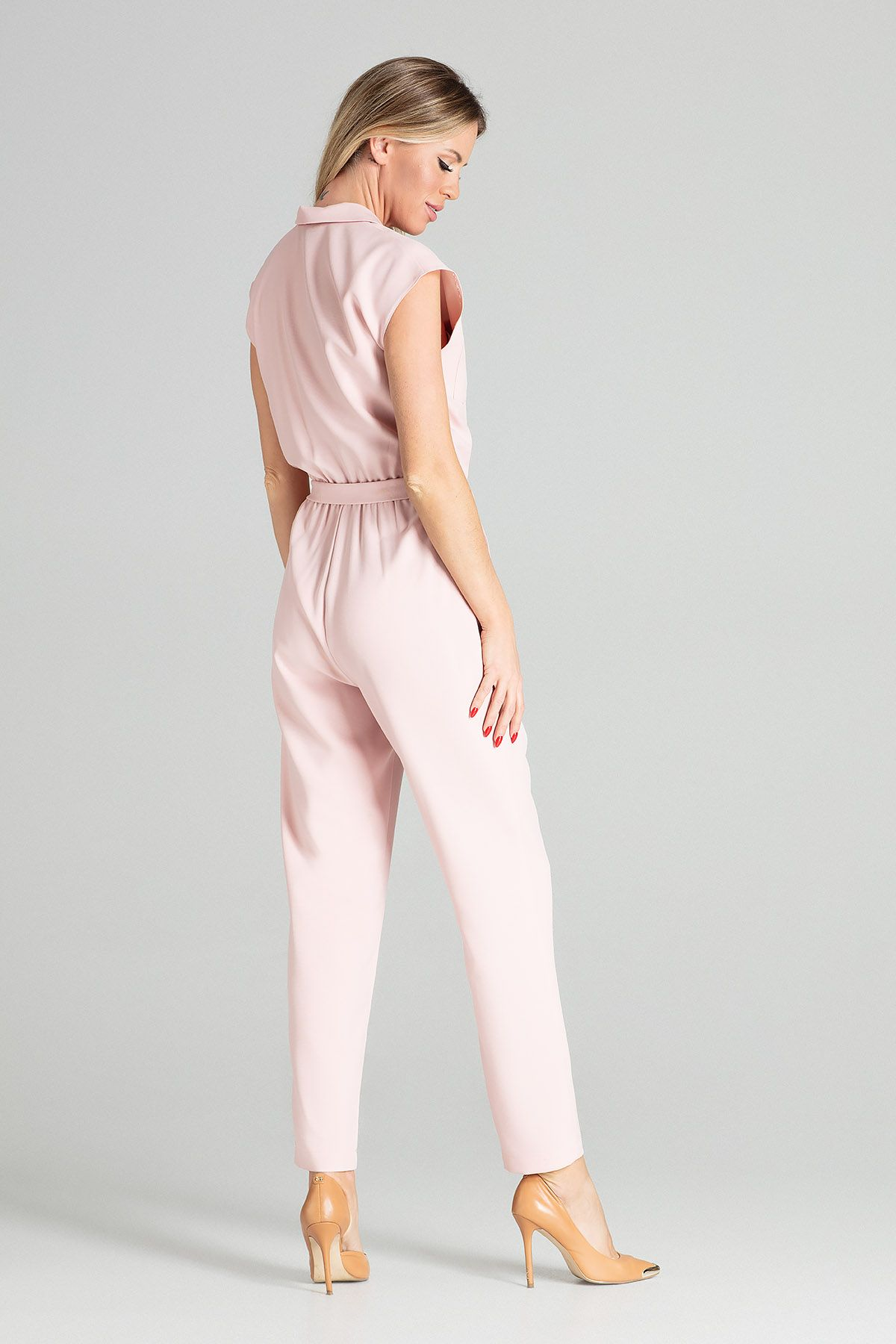 Pink Sleeveless Jumpsuit With Falling Shoulders