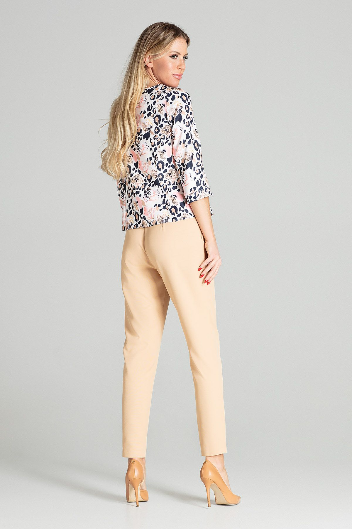Beige Tapered Trousers