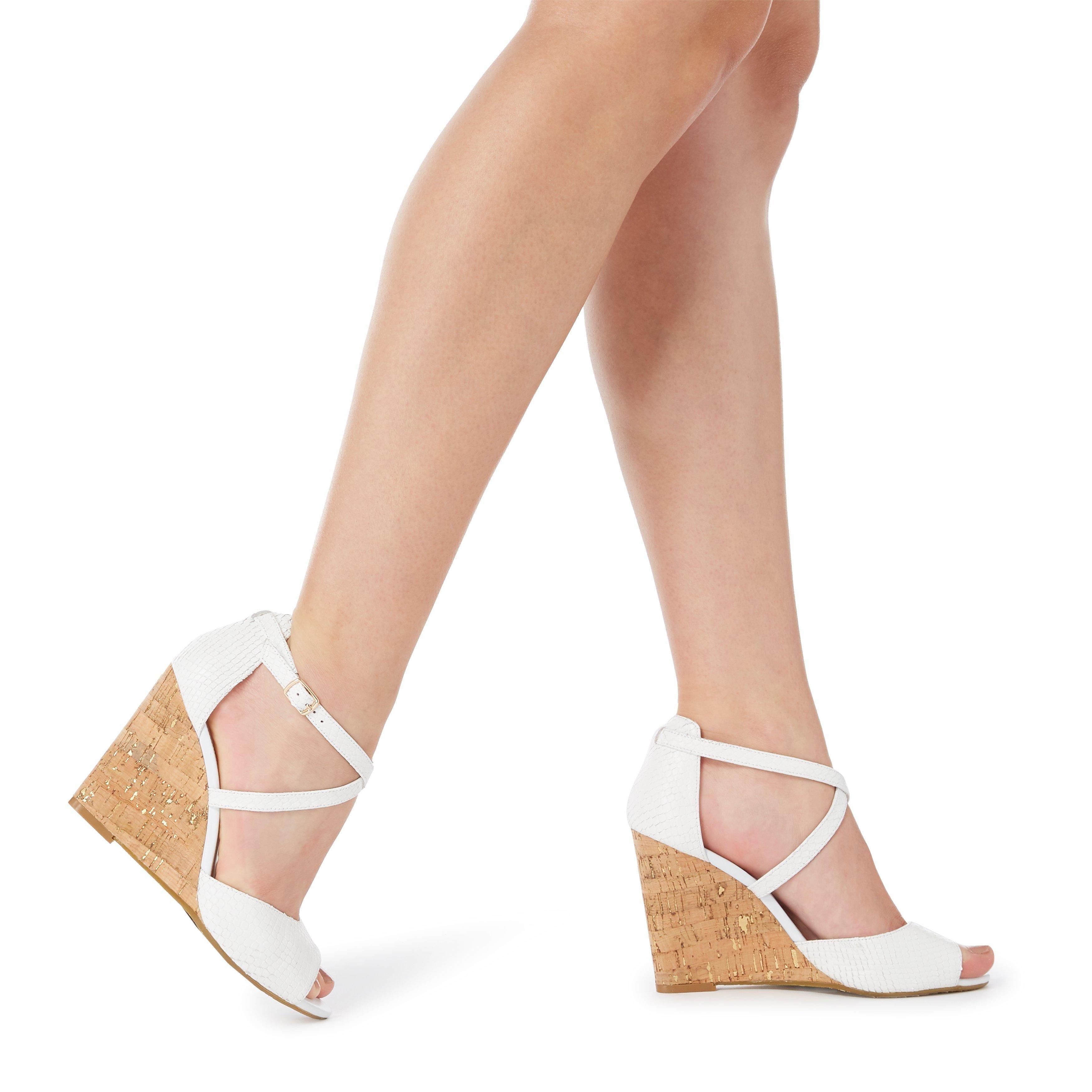 Dune Ladies MAJAVE Cross Strap Wedge Heel Sandal