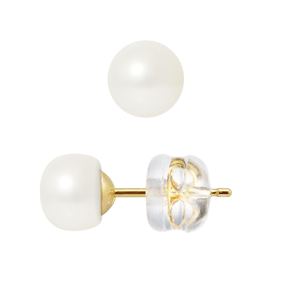 DIADEMA - Earrings - Real Freshwater Pearls - Yellow Gold