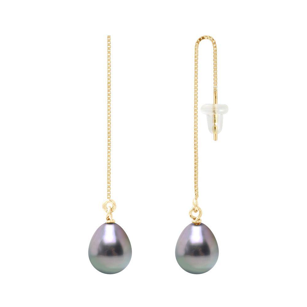 DIADEMA - Earrings - Pending - Real Tahitian Pearls - Yellow Gold