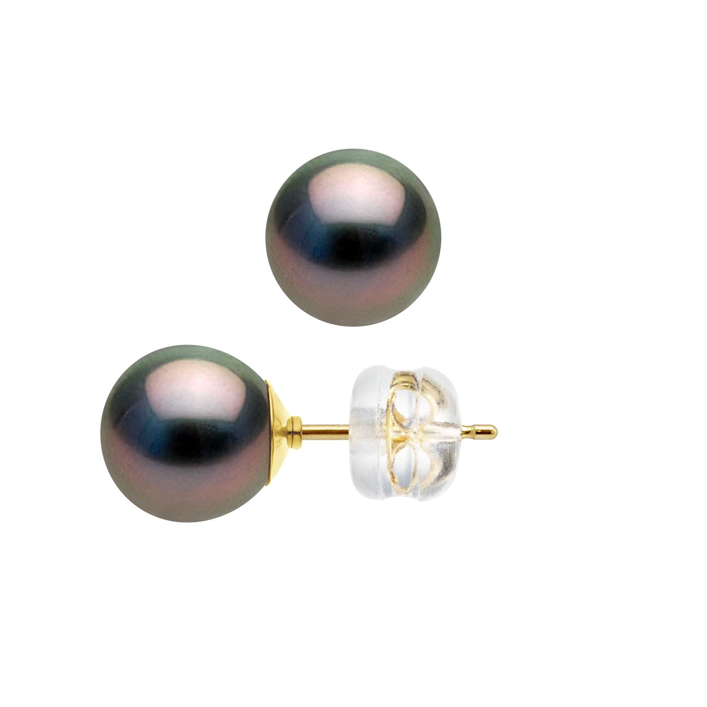 DIADEMA - Earrings - Yellow Gold and Real Tahitian Pearls