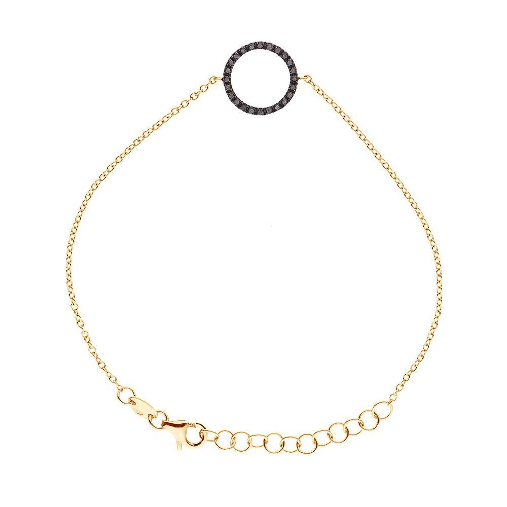 DIADEMA - Bracelet - Yellow Gold - Diamonds - Black