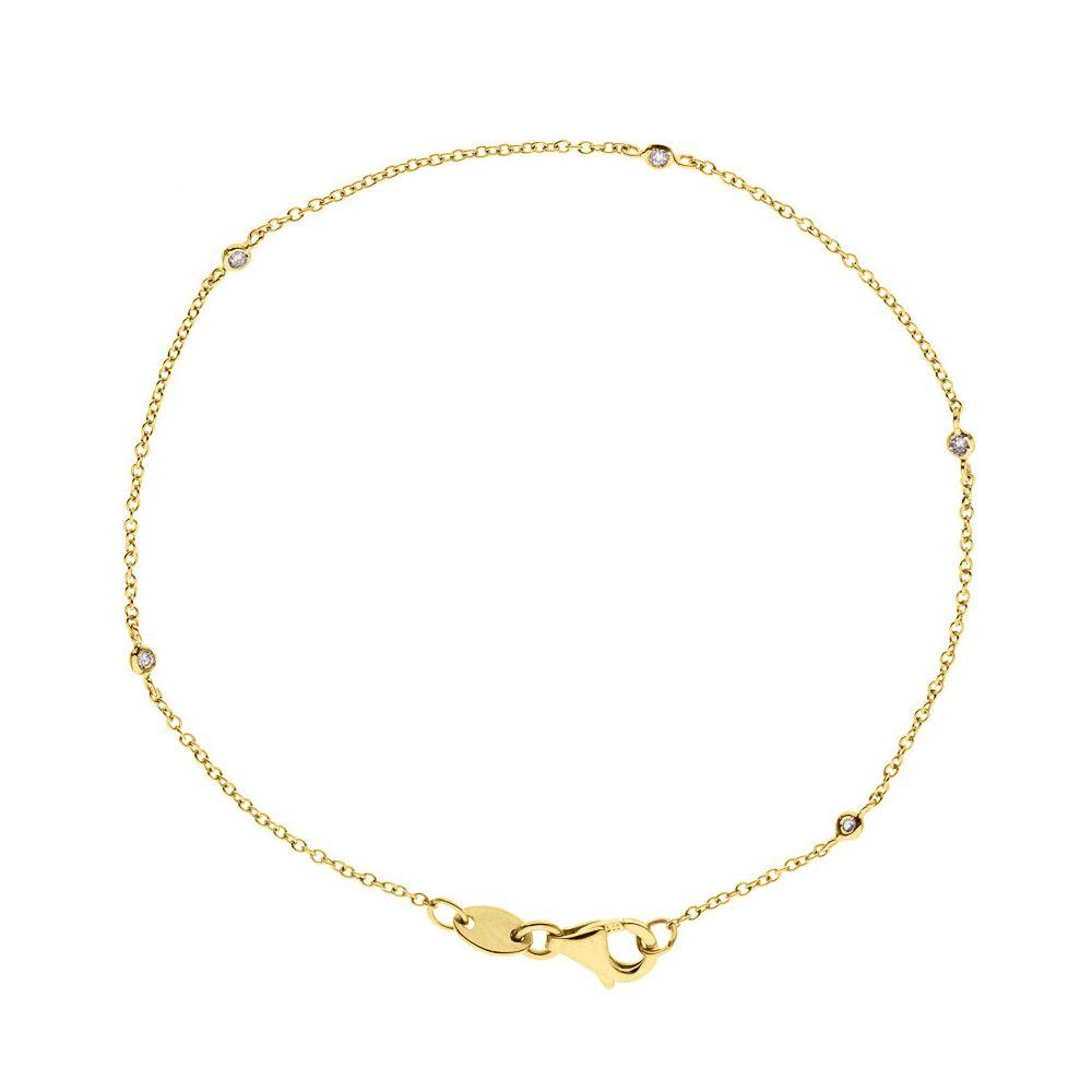 DIADEMA - Bracelet - Yellow Gold - 5 Diamonds - White