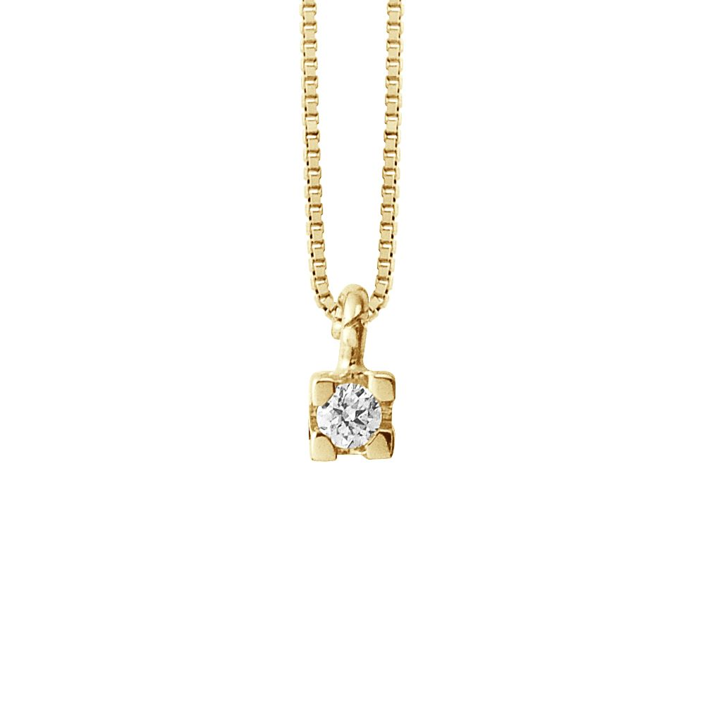 DIADEMA - Necklace with Diamonds - Yellow Gold Venetian Chain