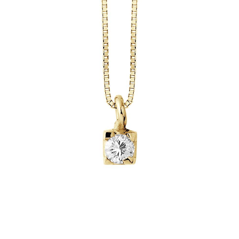 DIADEMA - Necklace with Diamonds - Yellow Gold Venetian Chain