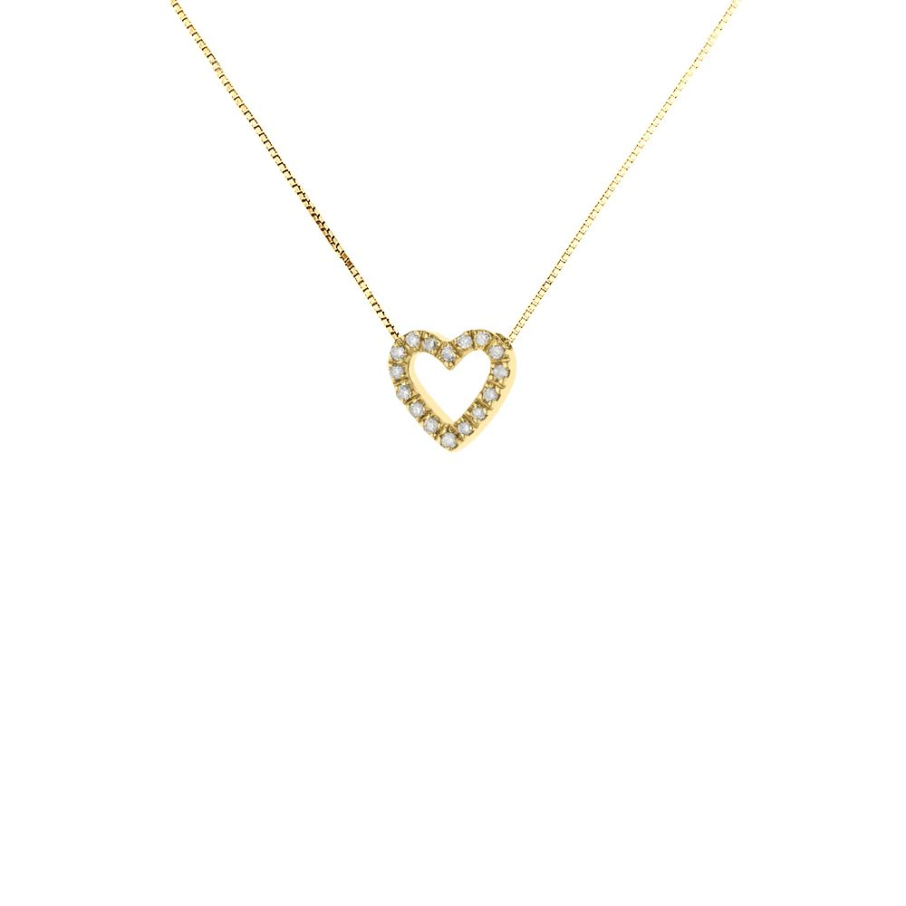 DIADEMA - Necklace with Diamonds - Heart - Yellow Gold
