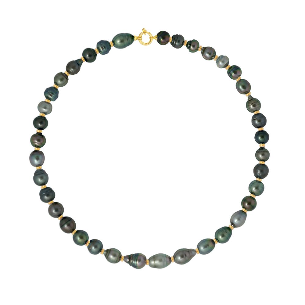 DIADEMA - Necklace - Real Tahitian Pearls - Rainbow - Yellow Gold