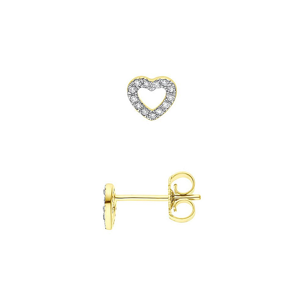 DIADEMA - Earrings with Diamonds - Heart - Yellow Gold
