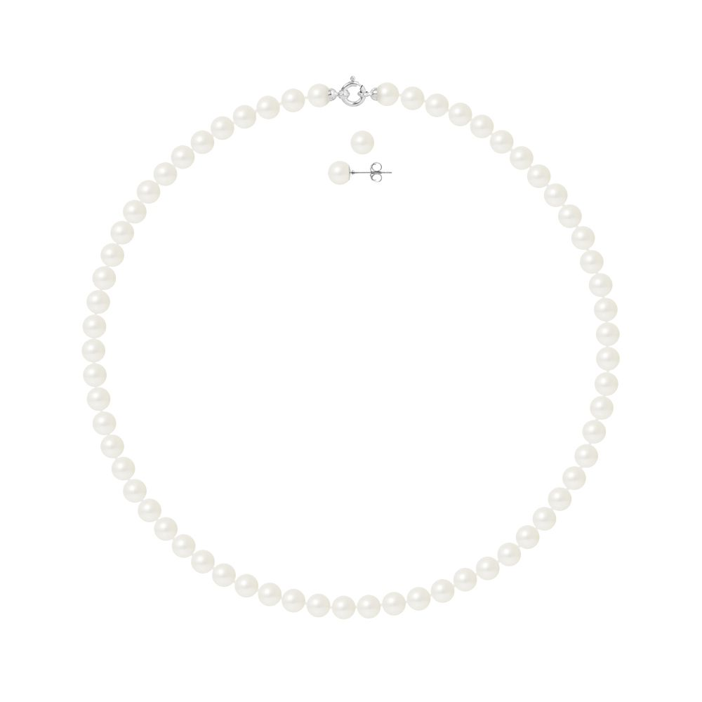 DIADEMA - Set - Necklace/Earrings - Real Freshwater Pearls - White Gold
