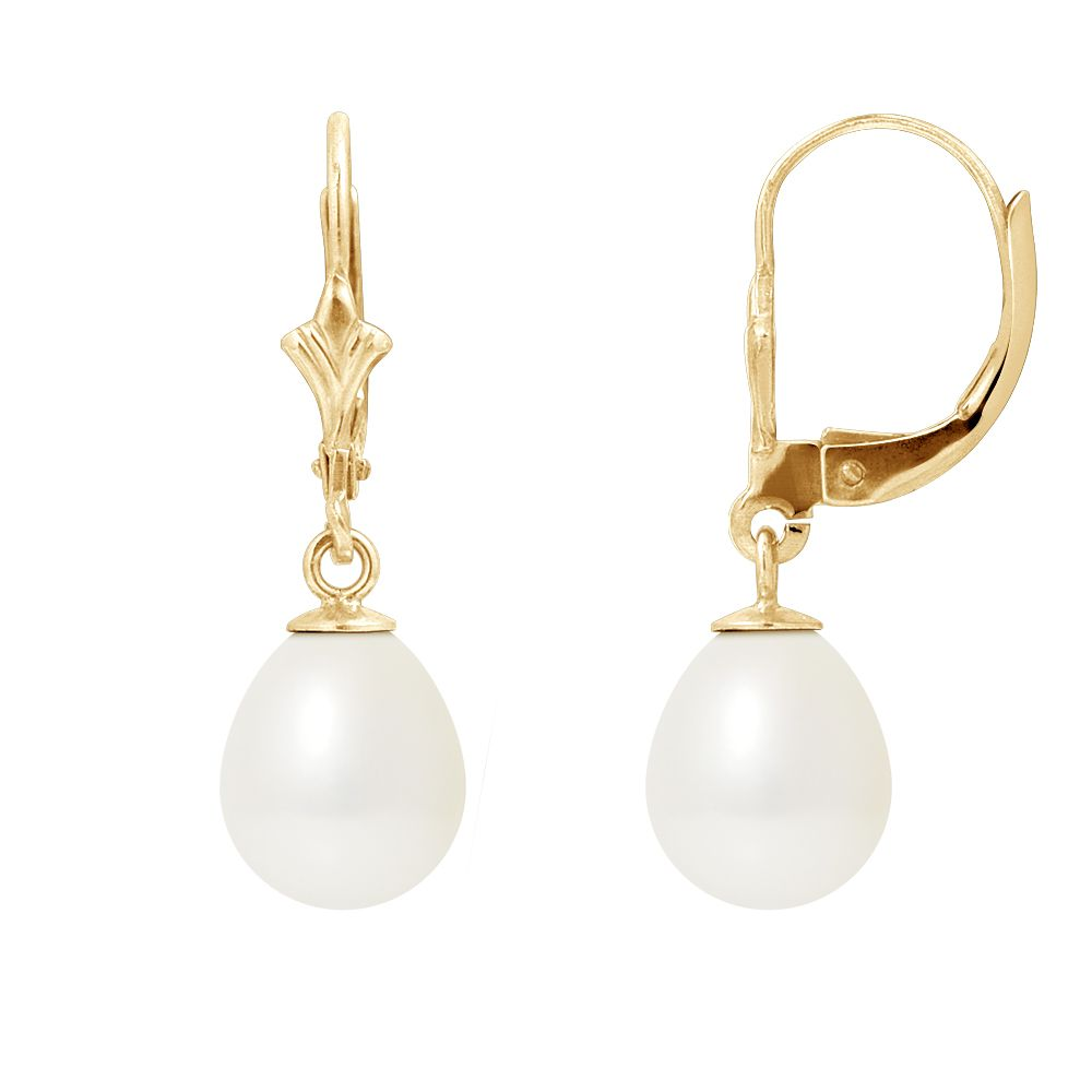 DIADEMA - Earrings - Yellow Gold and Real Freshwater Pearls