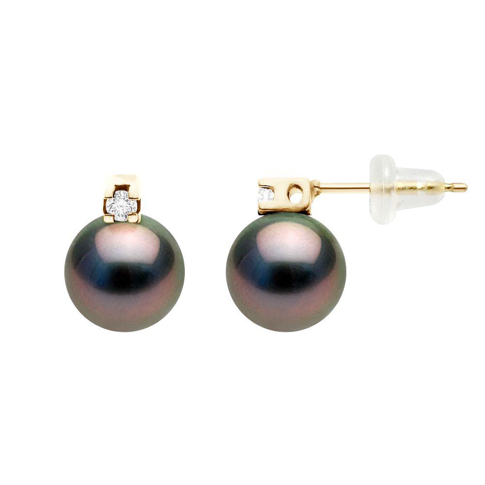 DIADEMA - Earrings - Diamonds - Yellow Gold and Real Tahitian Pearls