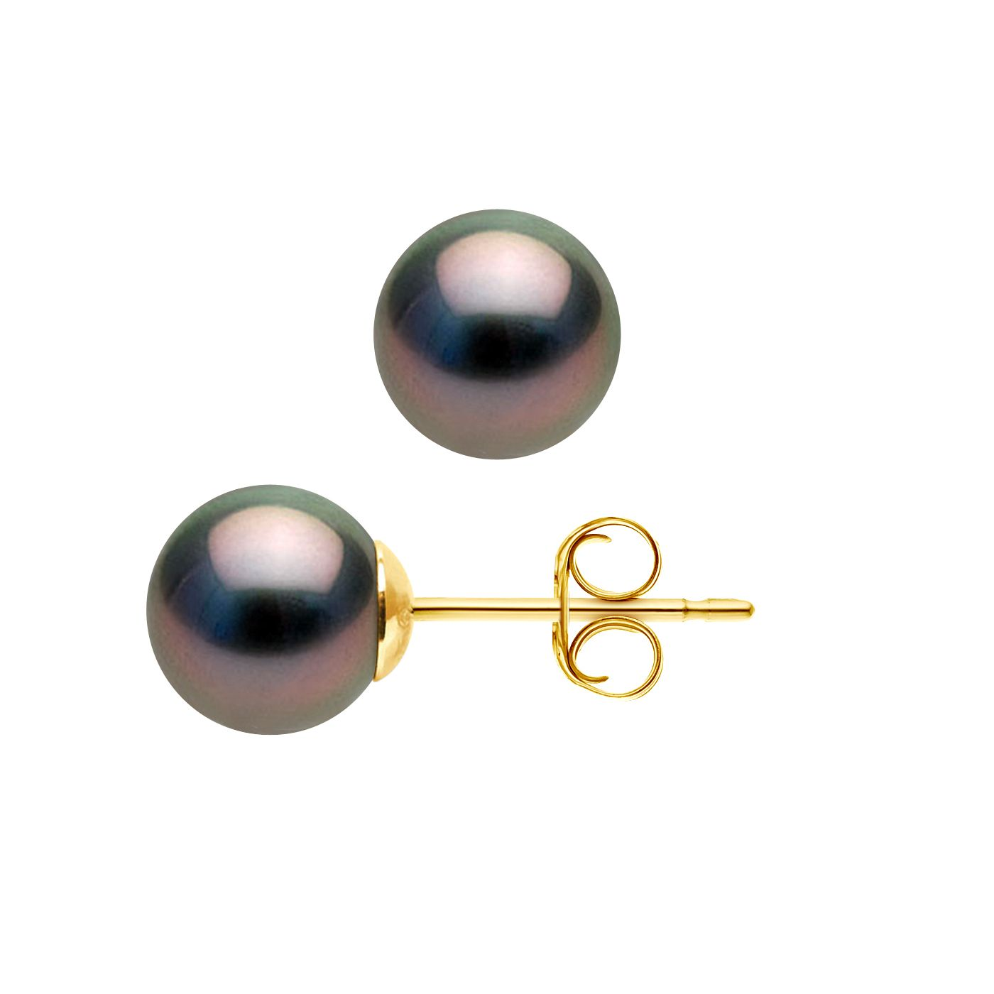 DIADEMA - Earrings - Yellow Gold and Real Tahitian Pearls