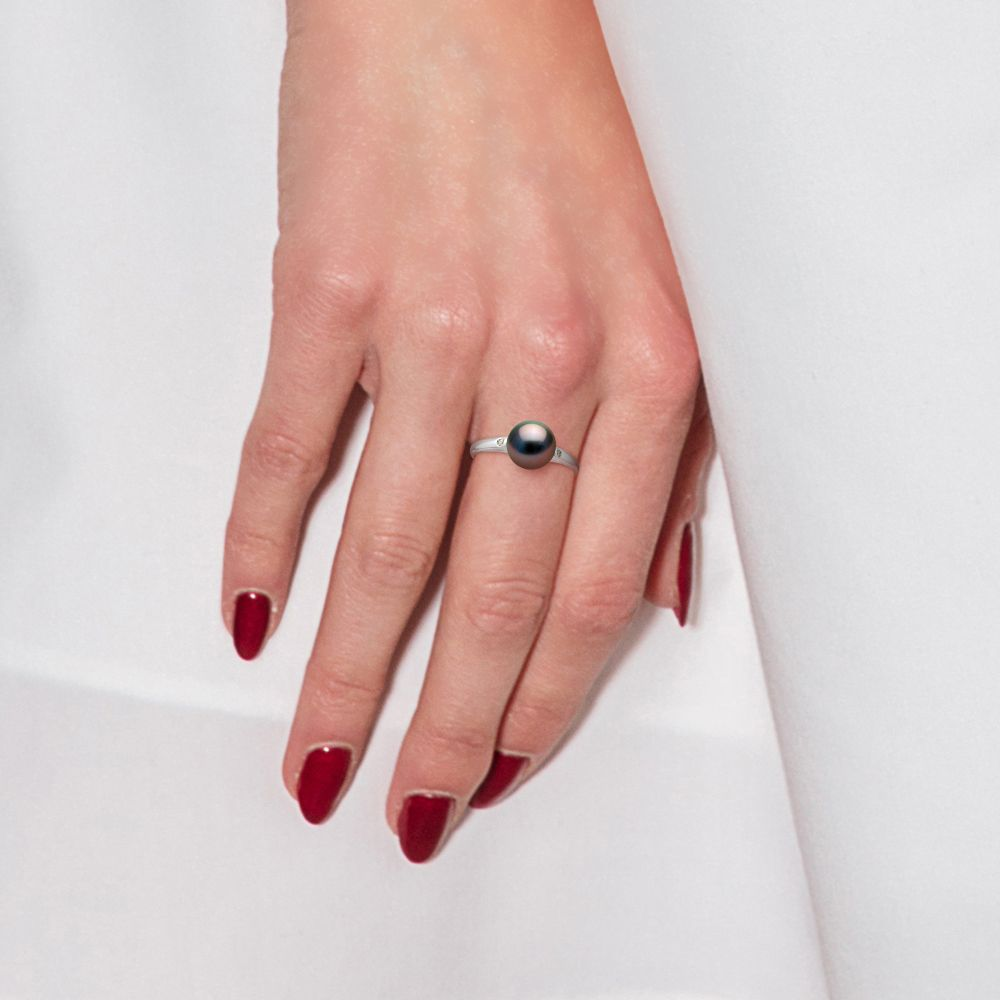 DIADEMA - Ring - Diamonds - Tahitian Pearl - White Gold
