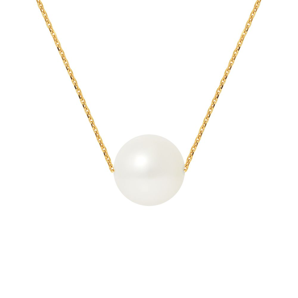 DIADEMA - Necklace - Real Freshwater Pearls - Cable Chain in Yellow Gold
