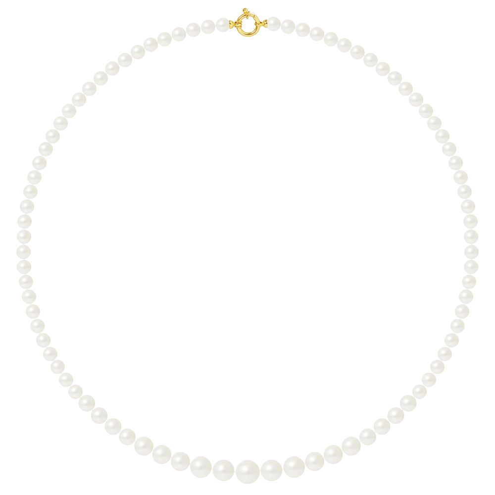 DIADEMA - Necklace - Real Freshwater Pearls - White - Yellow Gold