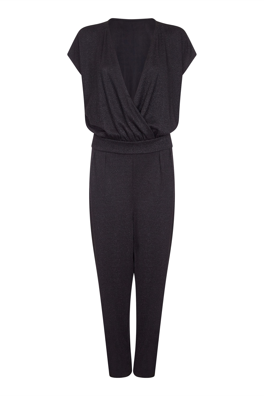 Capped Sleeve Sparkle Jumpsuit