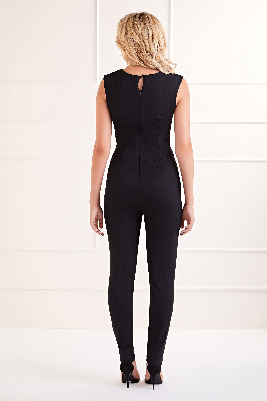 Black Belted Sleeveless  Jumpsuit