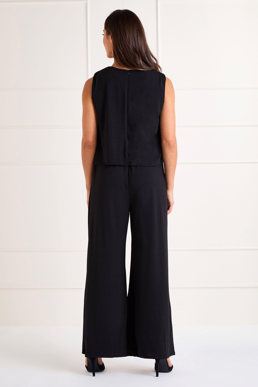 Black Slinky Jersey Overlay Jumpsuit