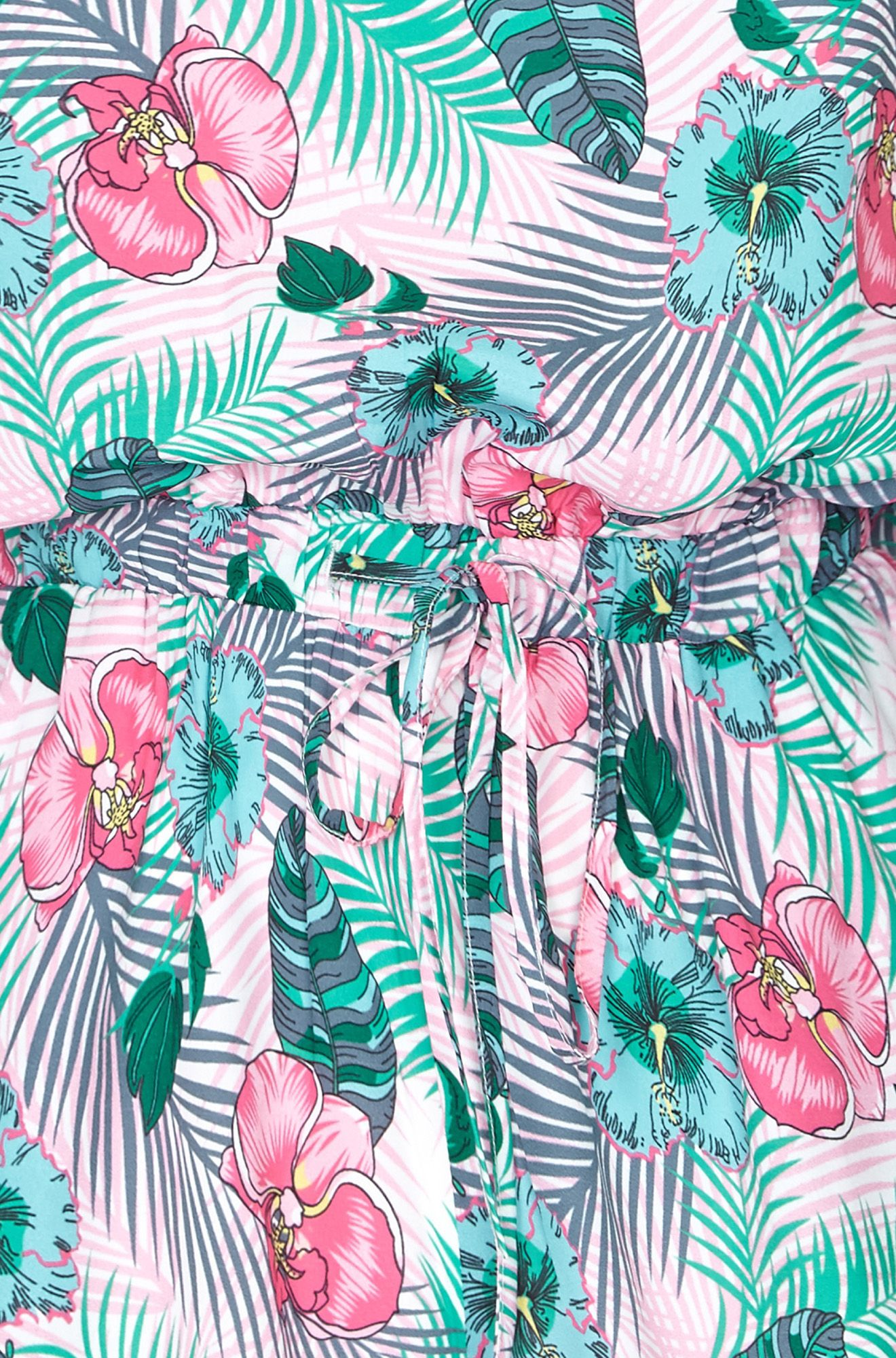 Pink Tropical Leaf Playsuit