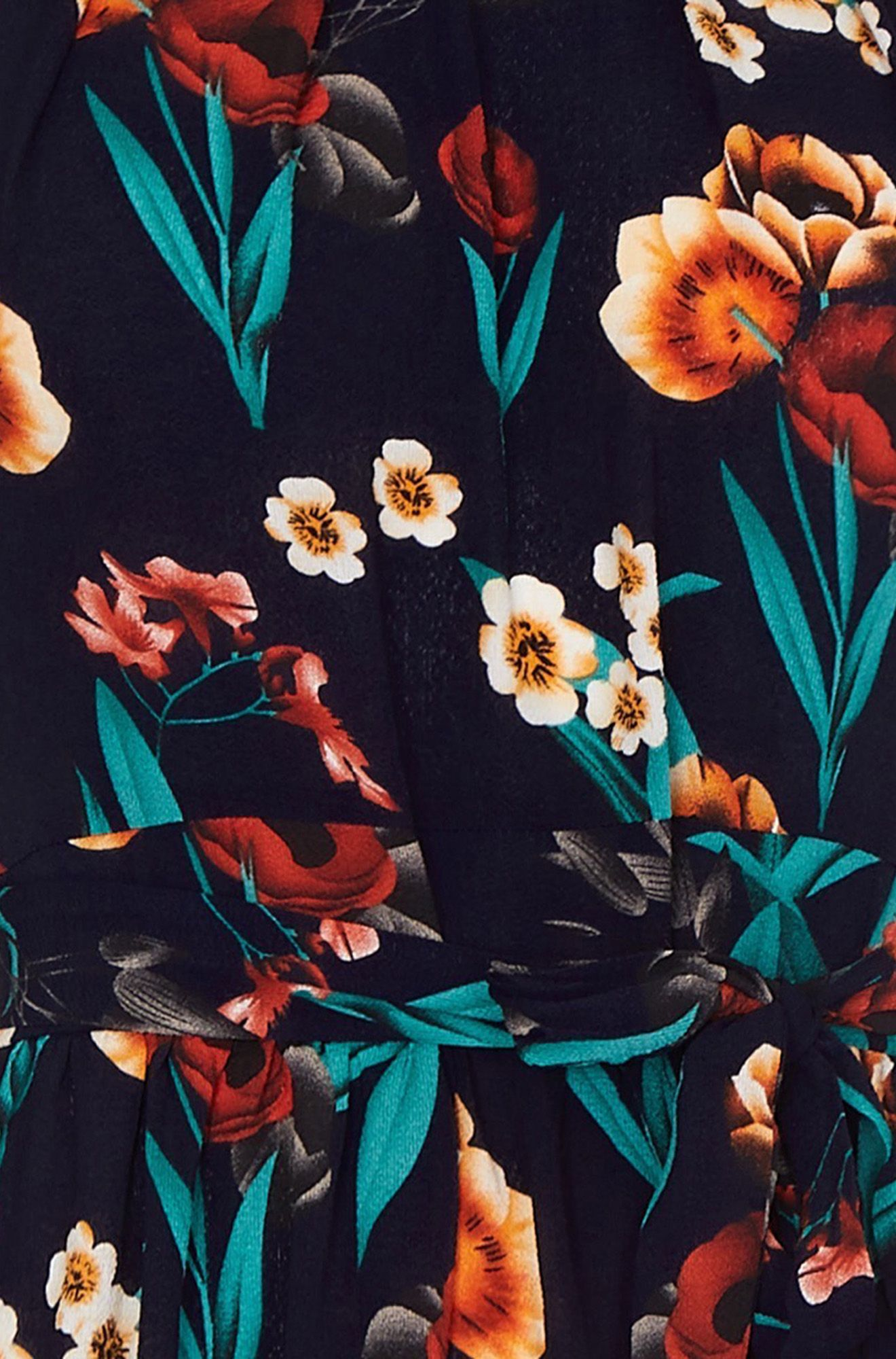 Black Poppy Print High Neck Maxi Dress