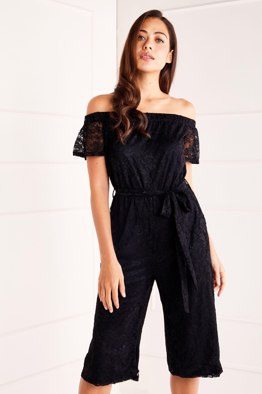 Black Bardot Lace Jumpsuit