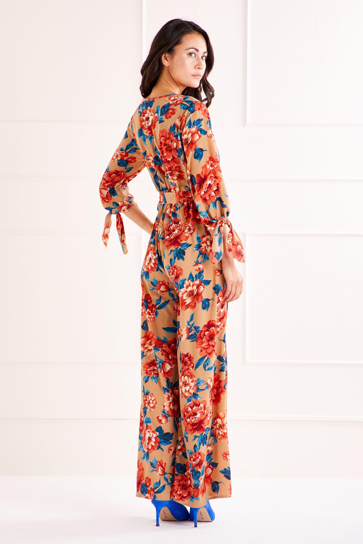 Tan Tie Sleeve Printed Jumpsuit