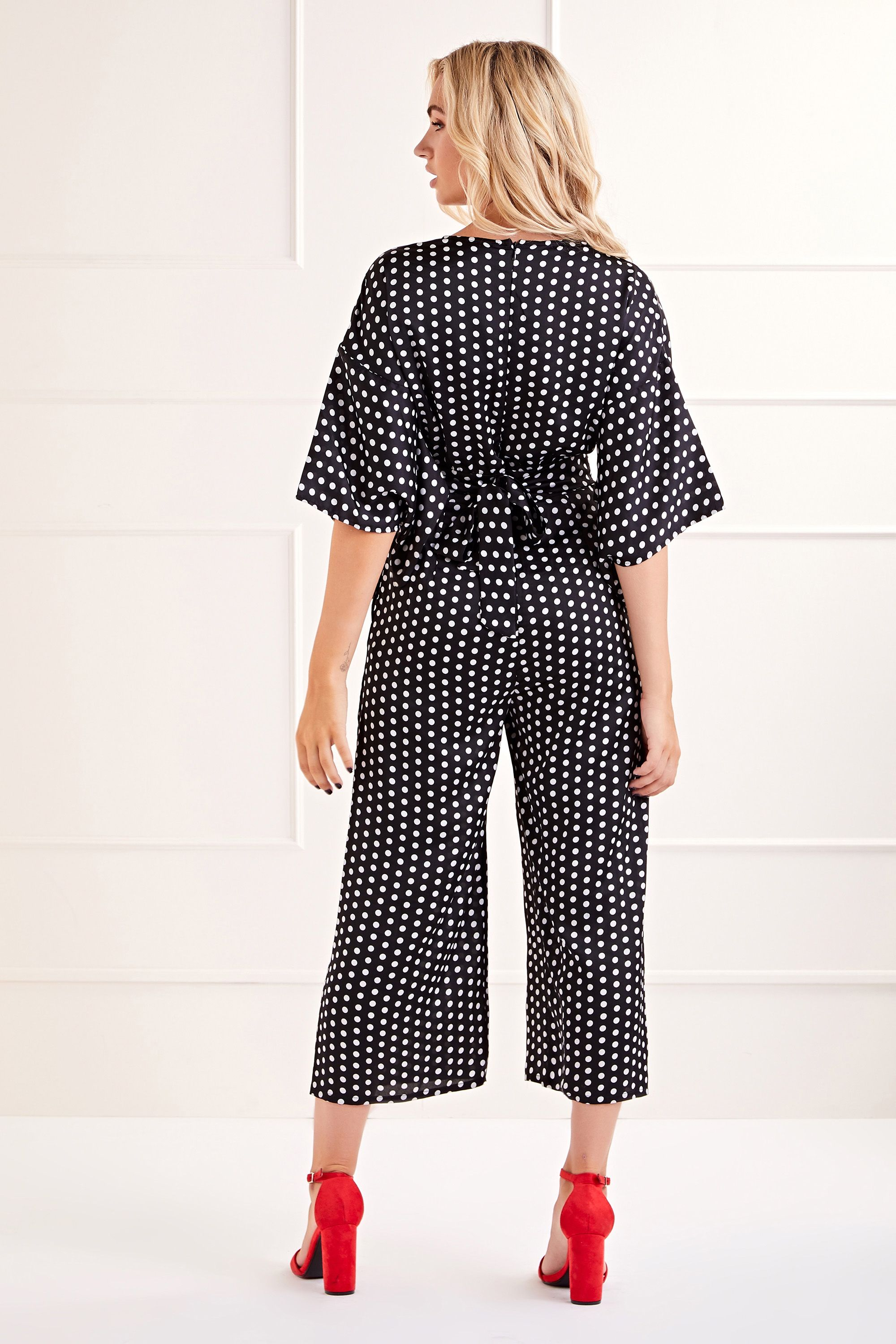 Black Polka Dot Printed Jumpsuit