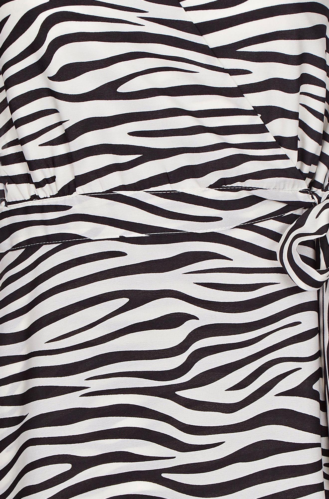 Black Zebra Stripe Wrap Dress