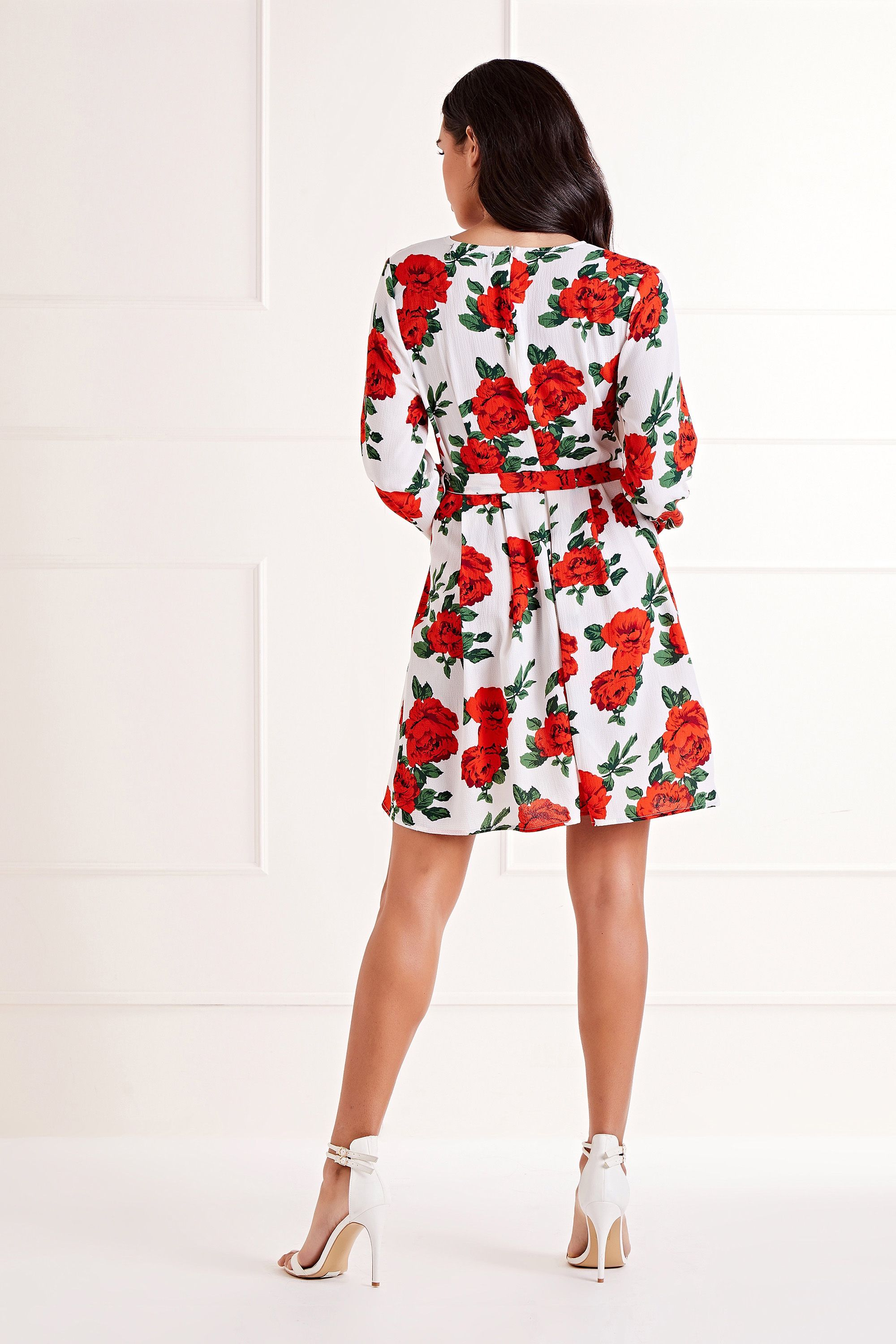 Rose Printed Wrap Front Skater Dress
