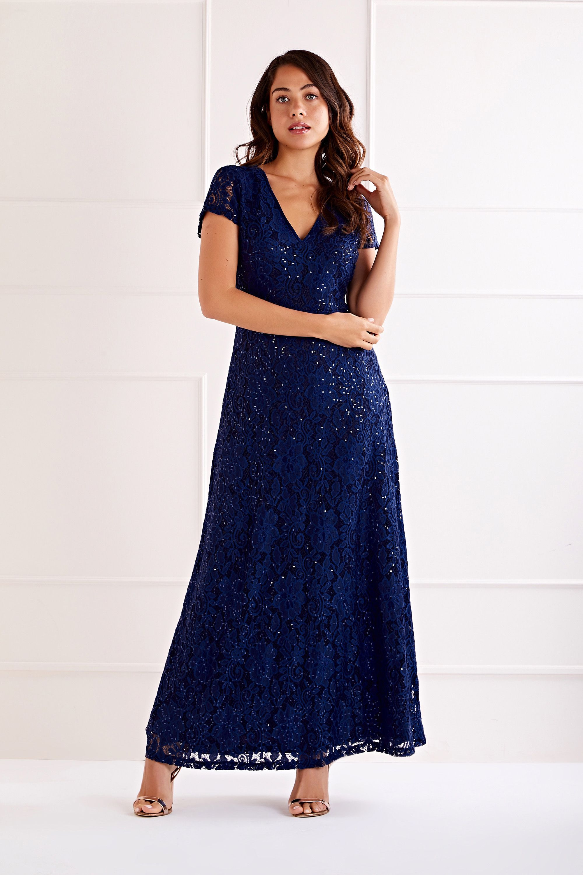 Navy Embellished  V Neck Lace Maxi Dress