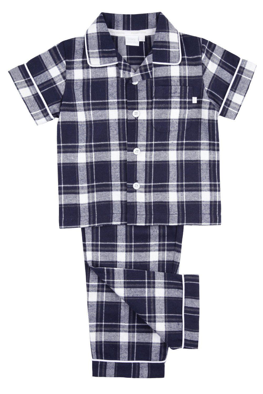 Navy Check fabric Boys short sleeved Traditional Pyjamas