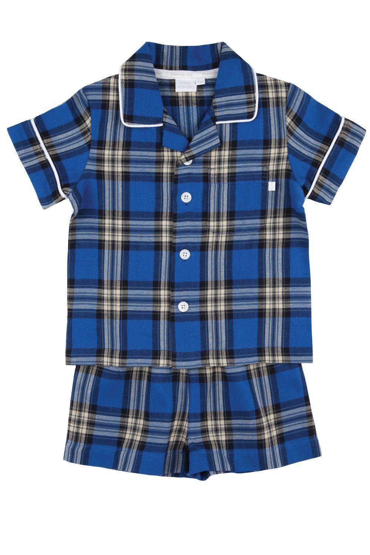 Boys Blue Short Traditional Check Pyjamas