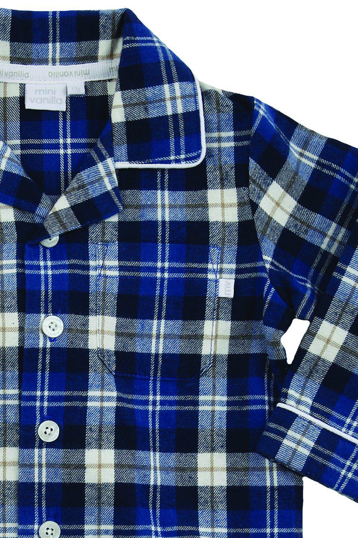 Boys Traditional Blue Check Pyjamas