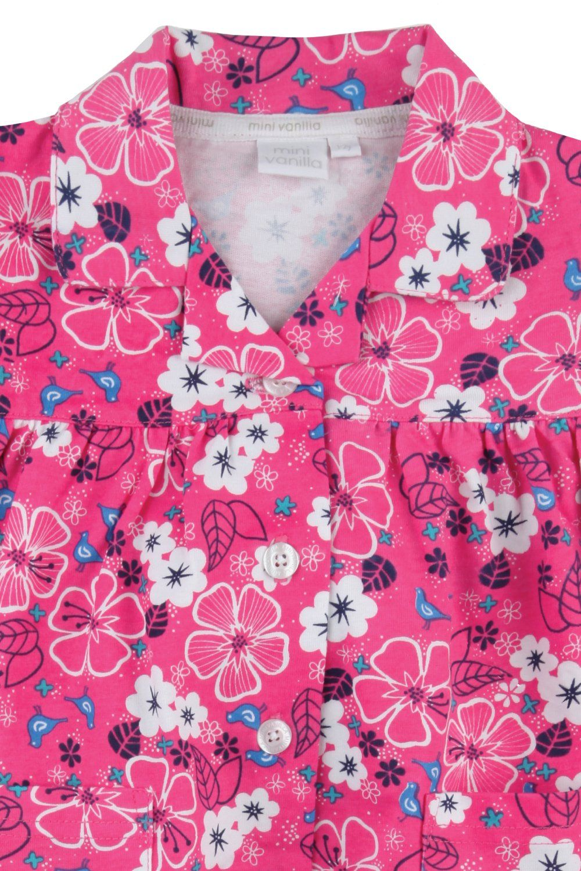 Pretty Pink Floral Jersey Girls Traditional Pyjamas
